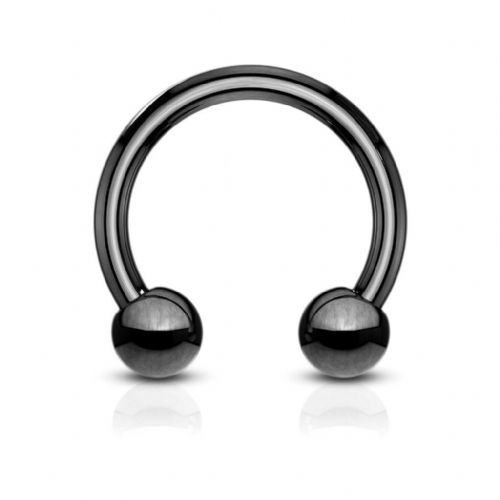 Black Titanium Plated Horseshoe Barbell